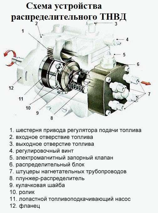 Схема устройства распределительного топливного насоса высокого давления